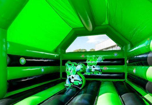 Super springkussen overdekt kopen in de kleuren groen en zwartvoor kinderen. Koop springkussen online bij JB Inflatables Nederland