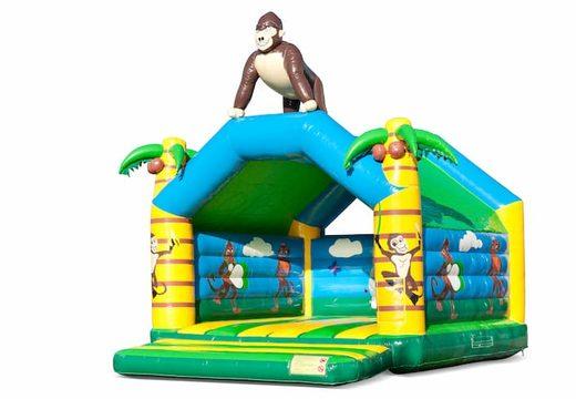 Groot overdekt springkussen kopen in thema gorilla in jungle voor kinderen. Bestel springkussens online bij JB Inflatables Nederland