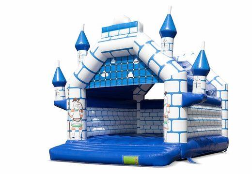 Groot overdekt blauw wit springkussen kopen in thema kasteel voor kinderen. Bestel springkussens online bij JB Inflatables Nederland