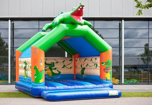 Krokodil super springkussen overdekt kopen met vrolijke animaties voor kinderen. Koop springkussens online bij JB Inflatables Nederland