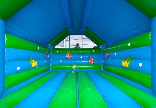 Groot overdekt springkasteel kopen in thema schildpad voor kinderen. Koop springkastelen online bij JB Inflatables Nederland