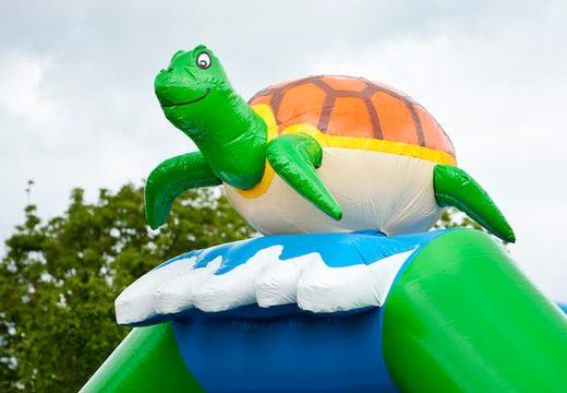 Groot overdekt luchtkussen kopen in thema schildpad voor kinderen. Koop luchtkussens online bij JB Inflatables Nederland
