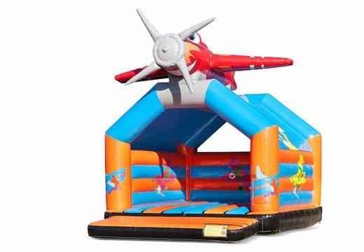 Groot springkussen overdekt kopen in vliegtuig thema voor kinderen. Bestel springkussens online bij JB Inflatables Nederland