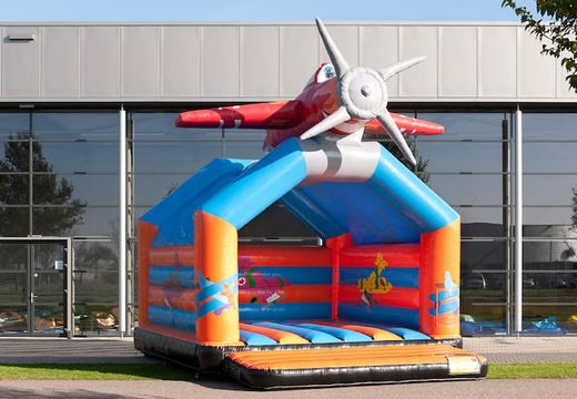Groot springkussen met dak kopen in thema vliegtuig voor kinderen