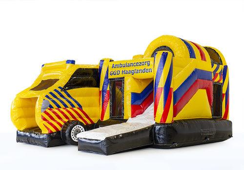 Gepersonaliseerde GGD Haaglanden - Multiplay Ambulance springkussen met de Europese veiligheidseis NEN-EN14960 te koop. Koop nu op maat gemaakt opblaasbare promotionele springkussen online bij JB Inflatables Nederland
