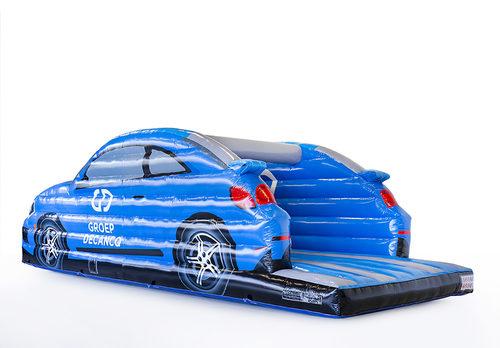 Opblaasbare Volkswagen auto springkussen in  blauw bestellen bij JB Inflatables Nederland. Vraag nu gratis ontwerp aan voor opblaasbare luchtkussens met uw eigen specificaties