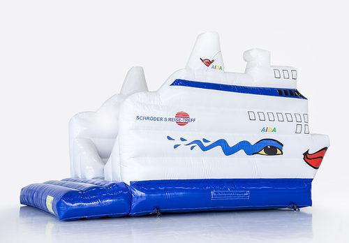 Bestel online opblaasbare Schröder Reise cruise schip springkussen op maat gemaakt bij JB Promotions Nederland; specialist in opblaasbare reclame artikelen zoals maatwerk springkastelen