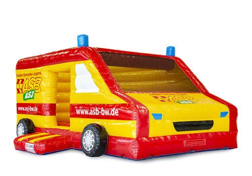 Bestel online opblaasbare  ASB- ziekenwagen springkussen in de vorm van een ziekenwagen op maat bij JB Promotions Nederland; specialist in opblaasbare reclame artikelen zoals maatwerk springkastelen