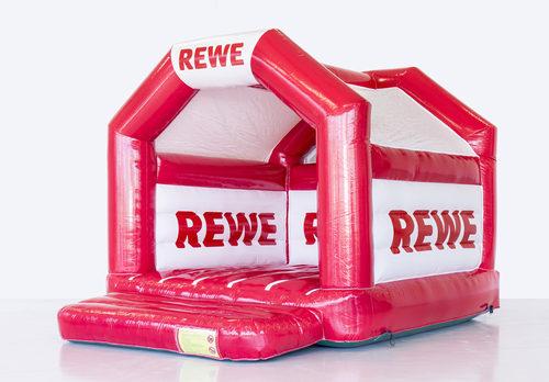Koop op maat gemaakte reclame rode Rewe reclame springkussen bij JB Promotions Nederland. Bestel nu opblaasbare maatwerk springkussens in verschillende soorten en maten