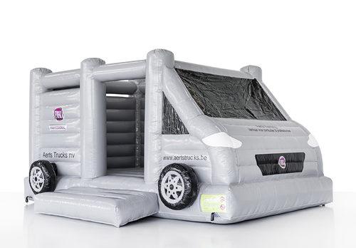 Promotionele maatwerk Aert truck bus springkussen in witte kleur online kopen. Bestel nu opblaasbare springkussens voor evenementen in eigen huisstijl bij JB Inflatables Nederland