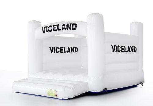 Promotionele op maat gemaakte Viceland - H frameopblaasbaar springkussen in witte kleur kopen voor evenementen. Bestel nu springkussens in eigen huisstijl bij JB Inflatables Nederland