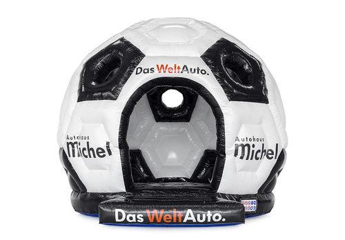 Koop maatwerk Das Welt Auto ronde voetbal springkussen, inclusief de logo's van de klant verwerkt bij JB Promotions Nederland. Vraag nu gratis ontwerp aan voor opblaasbare luchtkussens in eigen huisstijl