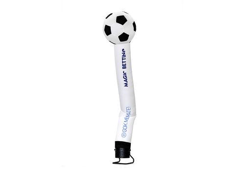 Bestel maatwerk magic betting voetbal 3D skytube in wit met logo en korte tekst bij JB Inflatables Nederland. Vraag nu gratis ontwerp aan voor opblaasbare air dancer in eigen huisstijl