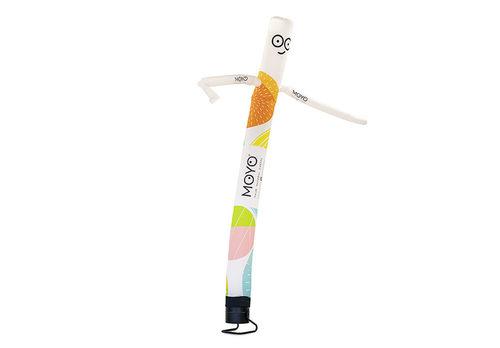 Maatwerk Moyo Natural Sweets skydancer opblaasbaar bestellen bij JB Inflatables Nederland. Vraag nu gratis ontwerp aan voor opblaasbare air dancer in eigen huisstijl