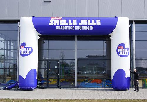 Gepersonaliseerde opblaasbare snelle jelle reclameboog bestellen voor promoties bij JB Inflatables Nederland. Koop nu op maat gemaakte opblaasbare reclamebogen