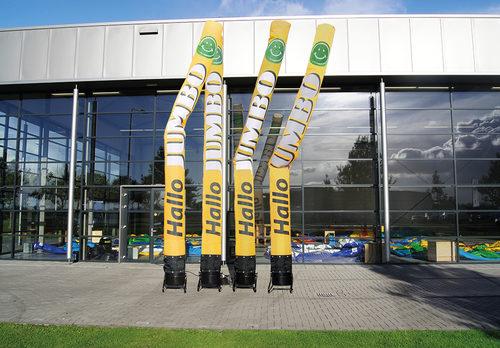 Maatwerk Jumbo skytube met slogan zijn perfect voor verschillende evenementen. Bestel op maat gemaakte airdancers bij JB Promotions Nederland