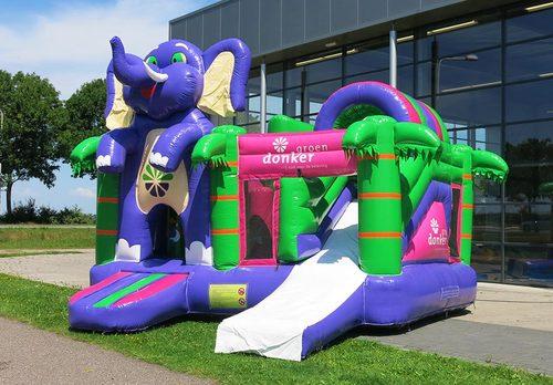 Op maat gemaakte Donker groen multiplay Olifant springkussen in eigen huisstijl bestellen bij JB Inflatables Nederland. Promotionele springkussens in alle soorten en maten razendsnel op maat gemaakt bij JB Promotions